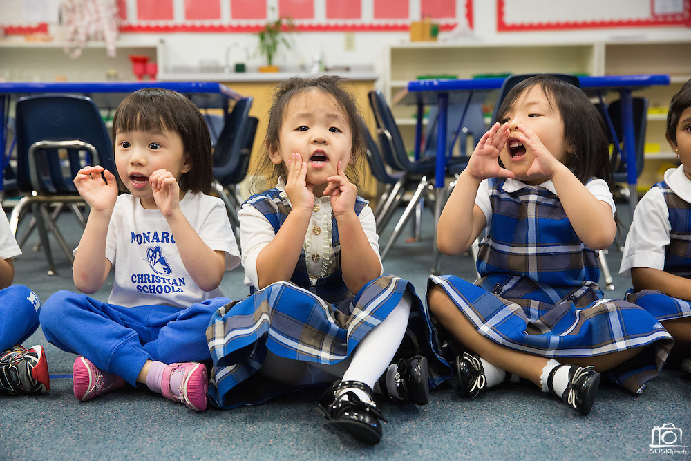 Students sing along with teachers at Monarch Christian Preschool & Kindergarten in Milpitas, California, on September 12, 2014. (Stan Olszewski/SOSKIphoto)