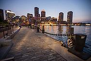 Boston dusk waterfront night skyline photo