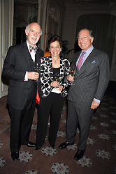 Left to right, MR & MRS ANTON MOSIMANN and SIR JOHN RITBLAT at a dinner to celebrate the launch of the Dom Ruinart 1998 vinatage champage at Claridge's, Brook Street, London W1 on 23rd April 2008.<br />