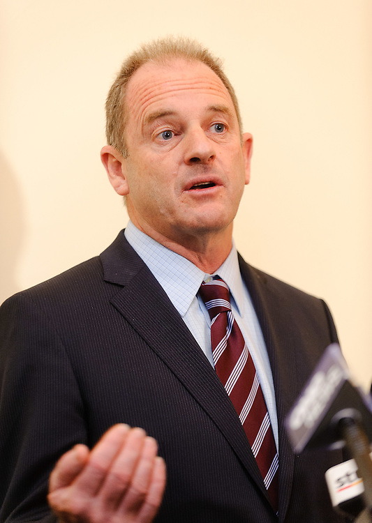 Labour leader David Shearer addresses the media after giving his first major speech as leader of the party at the Wellesley Hotel. Wellington, New Zealand, Thursday, March 15, 2012. Credit:SNPA / Mark Coote