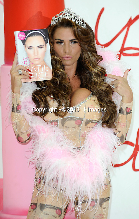 Katie Price launches her latest autobiography, 'Love Lipstick and Lies' at The Worx Studios, Parsons Green, London, UK. Tuesday, 22nd October 2013. Picture by i-Images