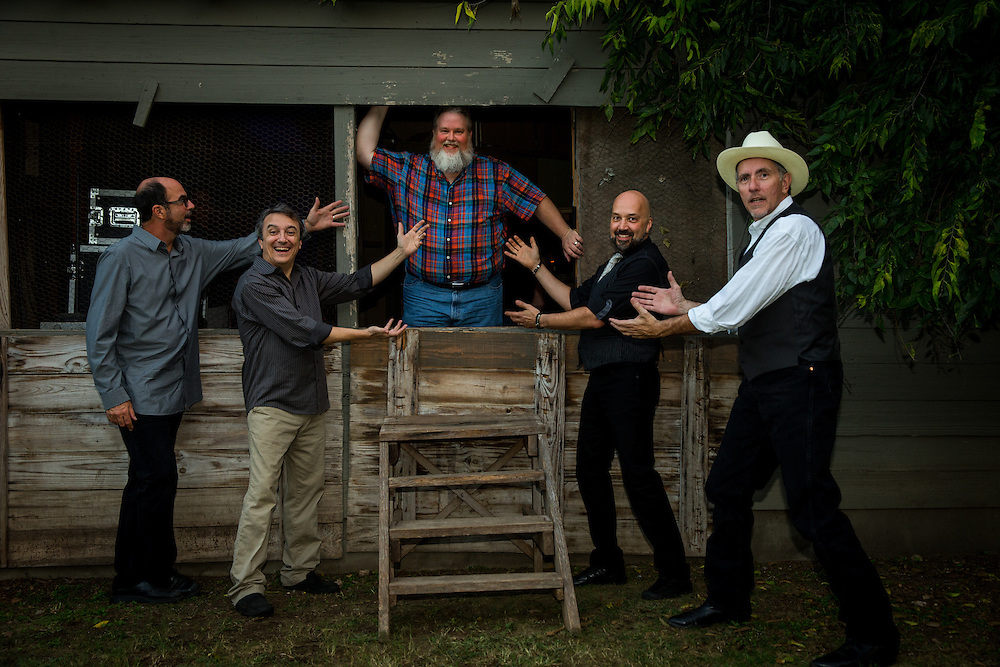 L-R Marty Muse, Rich Brotherton, Bill Whitbeck, Melvyn Koe, and Tom Van Schaik at Gruene Hall in New Braunfels, Texas on October 10 2014.