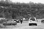 Ravers and an ambulance at a quarry in Frome, Somerset March 2014