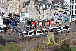 Tram on Princes Street, Edinburgh as seen from the Edinburgh Castle Esplanade.