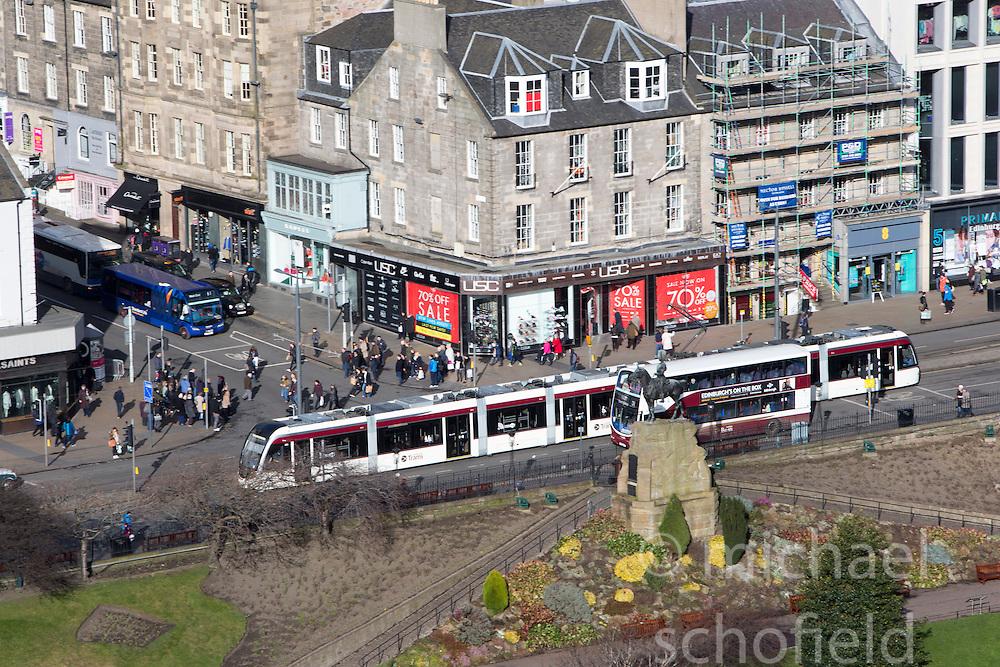 Tram on Princes Street, Edinburgh as seen from the Edinburgh Castle Esplanade.