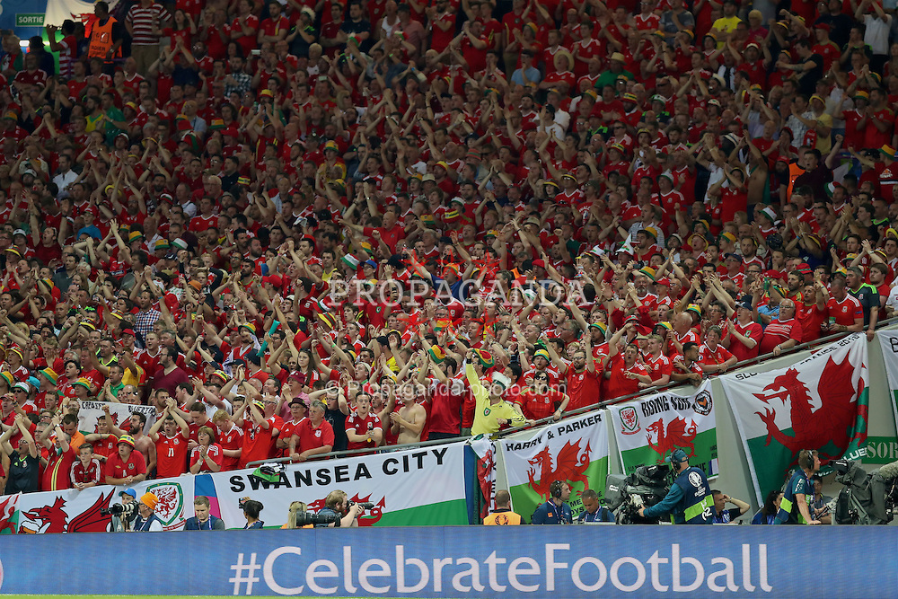 TOULOUSE, FRANCE - Monday, June 20, 2016: Wales supporters during the final Group B UEFA Euro 2016 Championship match against Russia at Stadium de Toulouse. (Pic by David Rawcliffe/Propaganda)