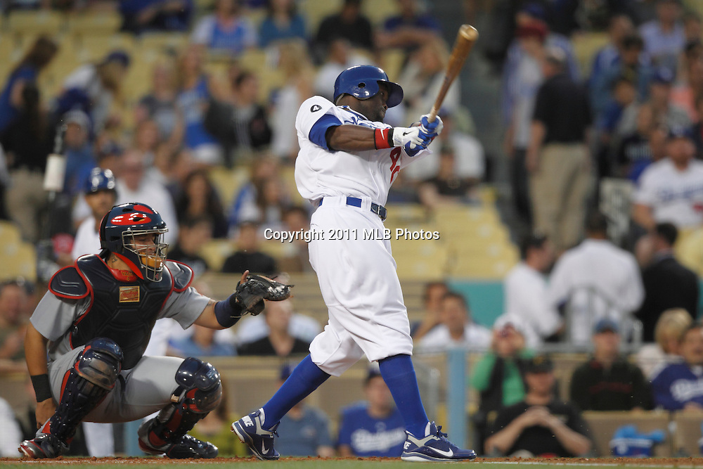 LOS ANGELES, CA - APRIL 15:  Tony Gwynn #10 of the Los Angeles Dodgers takes a swing at a pitch during the game between the St. Louis Cardinals and the Los Angeles Dodgers on Friday April 15, 2011 at Dodger Stadium in Los Angeles, California. (Photo by Paul Spinelli/MLB Photos via Getty Images) *** Local Caption *** Tony Gwynn
