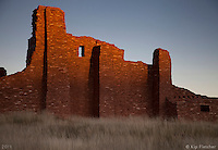 Enchanted Light. Near the Sangre De Cristo Mountains, outside Albuquerque, New Mexico - 10/12/2011. Right as the sun disappears under the horizon to the West, the light shining on the old ruin walls is the personification of new Mexico's Enchanted Light.