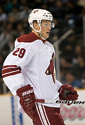April 10, 2010; San Jose, CA, USA; Phoenix Coyotes left wing Lauri Korpikoski (29) during the first period against the San Jose Sharks at HP Pavilion. San Jose defeated Phoenix 3-2 in a shootout. Mandatory Credit: Jason O. Watson / US PRESSWIRE