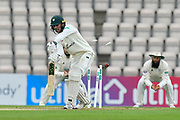 Wicket - Tom Fell of Worcestershire is bowled by Kyle Abbott of Hampshire during the Specsavers County Champ Div 1 match between Hampshire County Cricket Club and Worcestershire County Cricket Club at the Ageas Bowl, Southampton, United Kingdom on 13 April 2018. Picture by Graham Hunt.