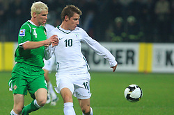 Ryan McGivern and Valter Birsa (10) at the fourth round qualification game of 2010 FIFA WORLD CUP SOUTH AFRICA in Group 3 between Slovenia and Northern Ireland at Stadion Ljudski vrt, on October 11, 2008, in Maribor, Slovenia.  (Photo by Vid Ponikvar / Sportal Images)
