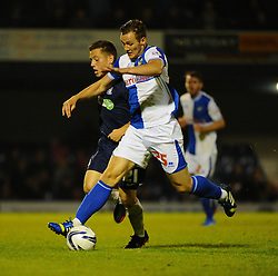 Bristol Rovers' Seanan Clucas battles with Southend United's Jack Payne - Photo mandatory by-line: Seb Daly/JMP - Tel: Mobile: 07966 386802 27/09/2013 - SPORT - FOOTBALL - Roots Hall - Southend - Southend United V Bristol Rovers - Sky Bet League Two