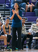 McNeil head coach Jennifer Moore instructs her team at Cedar Ridge Gym Saturday.  The Mavs lost to the Raiders 84-39.  (LOURDES M SHOAF for Round Rock Leader.)