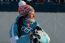 February 25, 2018 - Pyeongchang, South Korea - KRISTA PARMAKOSKI of Finland at the ceremony following  the Ladies' 30km Mass Start Classic cross-country ski racing event in the PyeongChang Olympic Games. (Credit Image: © Christopher Levy via ZUMA Wire)