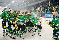 Ales Music, Miha Logar of Olimpija Andrej Tavzelj and other players of Olimpija celebrate after became Slovenian National Champion 2016 after winning during ice hockey match between HDD Telemach Olimpija and HDD SIJ Acroni Jesenice in Final of Slovenian League 2015/16, on April 11, 2016 in Hala Tivoli, Ljubljana, Slovenia. Photo by Vid Ponikvar / Sportida