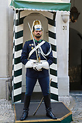 Sentry in ceremonial uniform at National Republican Guard Museum - Guarda Nacional Republicana Comando-Geral da GNR in Lisbon, Portugal