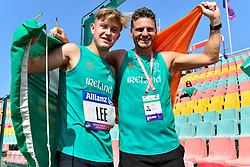 Lee Jordan, IRE celebrating his T47 High Jump Bronze medal win with coach Thomas Griffin at the Berlin 2018 World Para Athletics European Championships