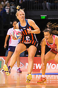 Chloe Williamson with the ball for the Tactix during the ANZ Championship Netball game between the Mainland Tactix v Adelaide Thunderbirds at Horncastle Arena in Christchurch. 20th April 2015 Photo: Joseph Johnson/www.photosport.co.nz