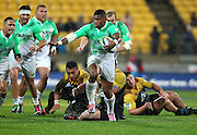 Highlanders' Waisake Naholo during the Round 14 Super Rugby match, Hurricanes v Highlanders at Westpac Stadium, Wellington. 27th May 2016. Copyright Photo.: Grant Down / www.photosport.nz