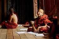 Novice monks at classroom