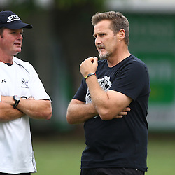 DURBAN, SOUTH AFRICA, 17 November 2015 - Sean Everitt (Assistant Coach) of the Cell C Sharks with Robert du Preez( Assistant Coach) of the Cell C Sharks  during The Pre-season training squad and coaching team announcement at Growthpoint Kings Park in Durban, South Africa. (Photo by Steve Haag)<br /> images for social media must have consent from Steve Haag
