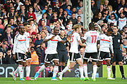 Fulham midfielder Neeskens Kebano (7) scores 3-1 during the EFL Sky Bet Championship match between Fulham and Aston Villa at Craven Cottage, London, England on 17 April 2017. Photo by Jon Bromley.