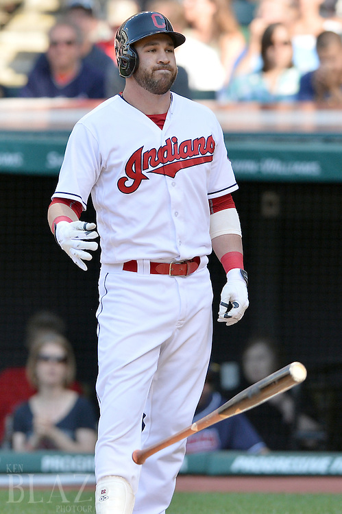 Sep 4, 2016; Cleveland, OH, USA; Cleveland Indians second baseman Jason Kipnis (22) throws his bat after striking out during the third inning against the Miami Marlins at Progressive Field. Mandatory Credit: Ken Blaze-USA TODAY Sports