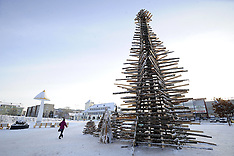 DEC 03 2014 Christmas tree built with waste wood