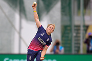England womens cricket Heather Knight (capt) bowls  during the ICC Women's World Cup match between England and India at the 3aaa County Ground, Derby, United Kingdom on 24 June 2017. Photo by Simon Davies.