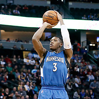15 February 2017: Minnesota Timberwolves guard Kris Dunn (3) takes a jump shot during the Minnesota Timberwolves 112-99 victory over the Denver Nuggets, at the Pepsi Center, Denver, Colorado, USA.