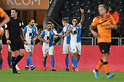 Blackburn Rovers player Derrick Williams (3) celebrates scoring goal to go 0-1 during the EFL Sky Bet Championship match between Hull City and Blackburn Rovers at the KCOM Stadium, Kingston upon Hull, England on 20 August 2019.