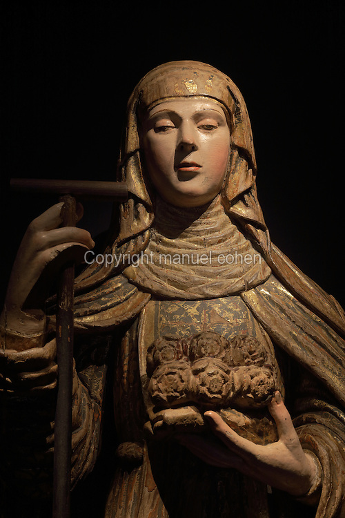 Polychrome sculpture of Queen St Isabel or Elizabeth of Portugal, 1271-1336, 18th century, in the Museu Nacional de Machado de Castro, Coimbra, Portugal. The museum was opened in 1913 and renovated 2004-2012. The city of Coimbra dates back to Roman times and was the capital of Portugal from 1131 to 1255. Its historic buildings are listed as a UNESCO World Heritage Site. Picture by Manuel Cohen