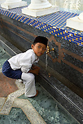 "Moslem boy in  ""friday best"" attend prayers at the Omar Ali Saifuddien Mosque"