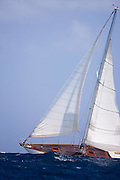 Apollonia racing in the Grenada Classic Yacht Regatta.
