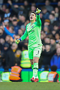 Chelsea goalkeeper Kepa Arrizabalaga (1) pointing, directing, signalling during the Premier League match between Chelsea and Wolverhampton Wanderers at Stamford Bridge, London, England on 10 March 2019.