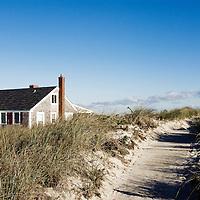 Beach cottage and dune grass, Yarmouth, Cape Cod, Massachusetts, USA