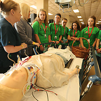 Linda Gail Davis R.N., discusses what goes on in the trama unit at the hospital to students from Burnsville.