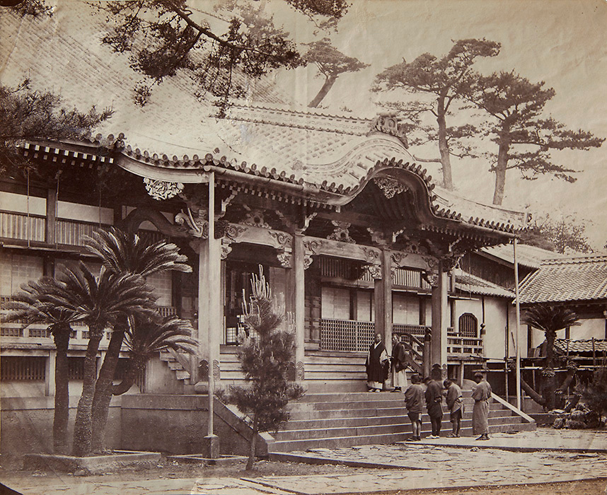 Photograph by Felice Beato<br /> Diaonji Temple at Nagasaki, 1864<br /> Albumen print<br /> <br /> Large format print from Beato's early Japan period. This print came from one of Beato's &quot;Views&quot; album and shows the Diaonji Temple in Nagasaki. This same image is kept in the archives of the Nagasaki University Library and which has been been officially dated as 1864.<br /> <br /> Overall condition good, but there is a small hole in the print. This can be seen on the center area of the roof, just below the tree branch hanging down from the top margin.<br /> <br /> Size: 11 1/2 x 9 1/4 in. (292 x 230 mm.)<br /> <br /> Price: inquire<br /> <br /> <br /> <br /> <br /> <br /> <br /> <br /> <br /> <br /> <br /> <br /> <br /> <br /> <br /> <br /> <br /> <br /> <br /> .