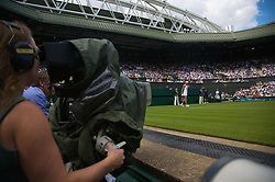 LONDON, ENGLAND - Monday, June 23, 2008: Ana Ivanovic (SRB) is the focus of attention from a television camera during her first round match on day one of the Wimbledon Lawn Tennis Championships at the All England Lawn Tennis and Croquet Club. (Photo by David Rawcliffe/Propaganda)