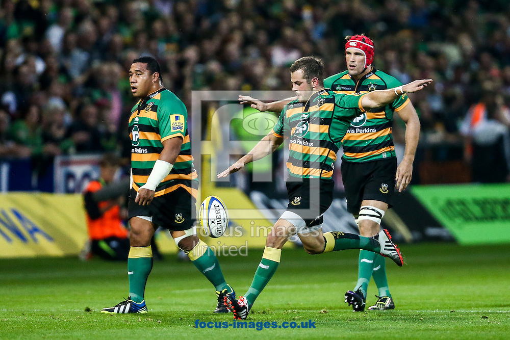 Stephen Myler of Northampton Saints clears during the Aviva Premiership match at Franklin's Gardens, Northampton<br /> Picture by Andy Kearns/Focus Images Ltd 0781 864 4264<br /> 05/09/2014