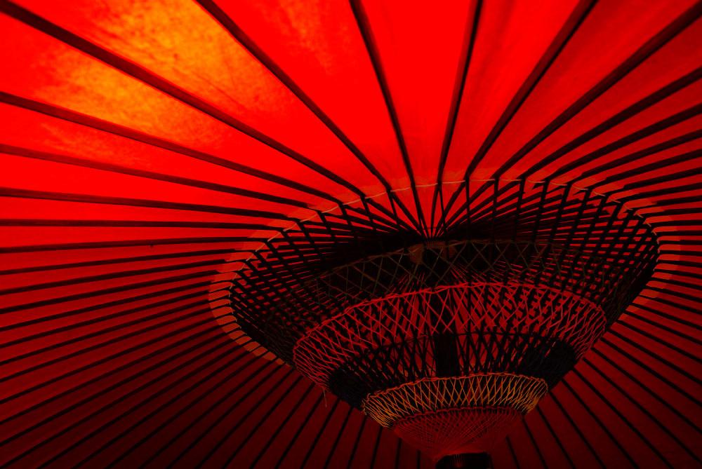 Red Japanese umbrella - detail shot