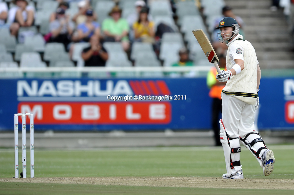 Michael Clark (captain) of South Africa salutes the crowd after going to his 150 . South Africa v Australia, first test, day 2, Newlands, South Africa. 10 November 2011<br /> <br /> <br /> &copy;Ryan Wilkisky/BackpagePix
