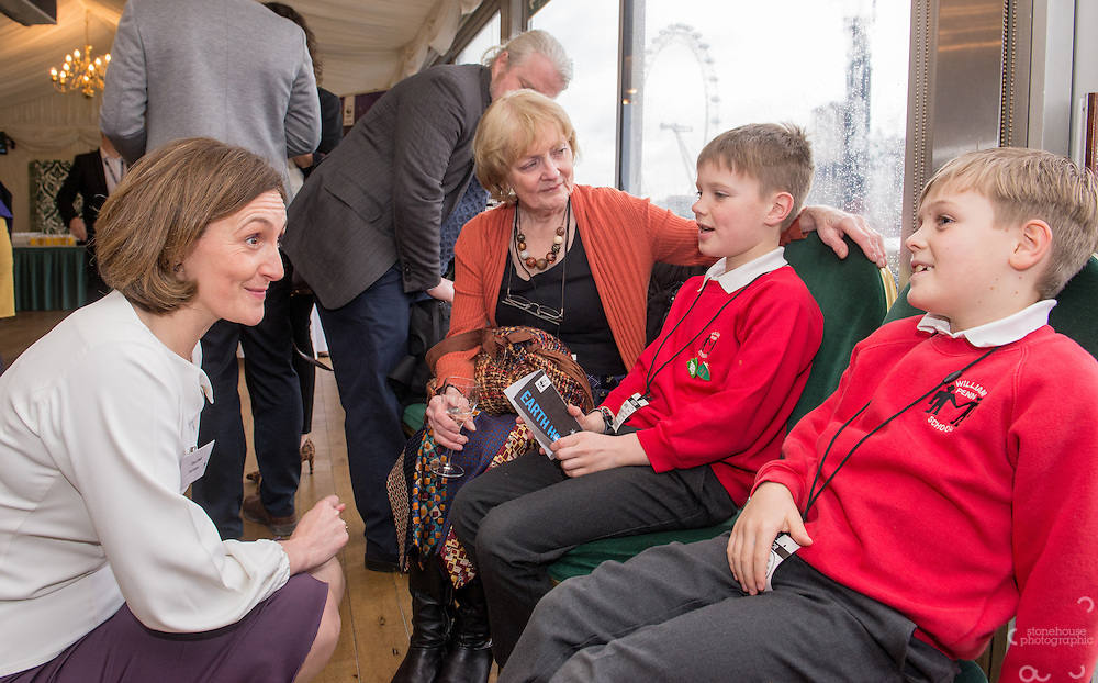 Tanya Steele WWF UK Ceo Chats with Primary School finalists at WWF UK Earth Hour 10th Anniversary Parliamentary Reception, Terrace Pavilion, Palace of Westminster. 28th Feb. 2017