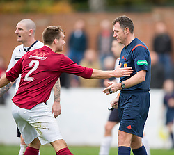 Linlithgow Rose Gary Thom at ref McKendrik after Raith Rovers get a penalty.<br /> Linlithgow Rose 0 v 2 Raith Rovers, William Hill Scottish Cup Third Round game player today at Prestonfield.