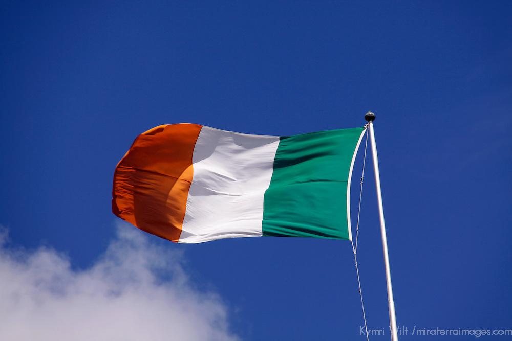 Europe, Ireland, Dublin. The national flag of Ireland.