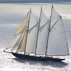 The 2010 Sailing yacht Atlantic is magnificent replica of the 1903 William Gardner designed three-masted sailing schooner Atlantic, owned by Ed Kastelein. The 1903 sailing schooner was a long time World record holder for the crossing of the Atlantic Ocean under sail in 1905 winning the Kaiser's Cup from New York to The Lizard. The record held firm for almost a century, when it was broken in 1998. It is the longest standing speed record in the Yachting History. .The Owner, Ed Kastelein is the man responsible for the recreation of this wonderful new schooner Atlantic, and is also behind such projects as the sailing yacht Thendara, sailing yacht Aile Blanche, sailing yacht Borkumriff, sailing yacht Zaca a te Moana and most recently the Herreshoff racing schooner Eleonora E...The Dutch Van der Graaf yard first launched the Sailing Yacht Atlantic in 2008. Following her launch, she underwent an extensive programme of fitting out. 2009 saw the assembly of her three masts, with a height of 45 metres, supporting 1700m² of sails. Her raven black high gloss hull reflects the ripples of the water and one glance at the three towering masts, instantly give the sense of power that this mighty yacht Atlantic has...Sailing schooner Atlantic is the largest classic sailing schooner ever created, measuring 185 feet (56 metres) over deck and with the bowsprit to boom length of 227 feet (69 metres). Her graceful sheerline and long overhangs accentuate her grace while her waterline length of 42 meters and narrow beam are a promise for unmatched speed under sail...On June 23rd 2010, sailing schooner Atlantic sailed out to sea, three years after her keel was laid. The Owner, Ed Kastelein, saw his long term dream come true, as he witnesses his family, guest and crew step on board of Atlantic yacht. Her maiden voyage was a two month leisurely cruise from Rotterdam to Cannes and she exceeded all expectations, sailing fast at every point of sail with amazing ease and comfort.Yacht Charter Acco