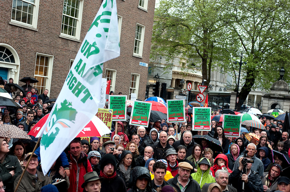 18.05.2010: Over 1000 people protest outside Leinster House, the seat of the Irish parliment in Dublin calling on the Government to reverse spending cutbacks and to focus on reducing the numbers unemployed rather than providing large sums of state money to the State's banks.