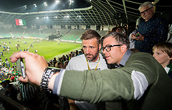 Igor Biscan, head coach of NK Olimpija Ljubljana and Anze Kalan after winning during football match between NK Aluminij and NK Olimpija Ljubljana in the Final of Slovenian Football Cup 2017/18, on May 30, 2018 in SRC Stozice, Ljubljana, Slovenia. Photo by Vid Ponikvar / Sportida