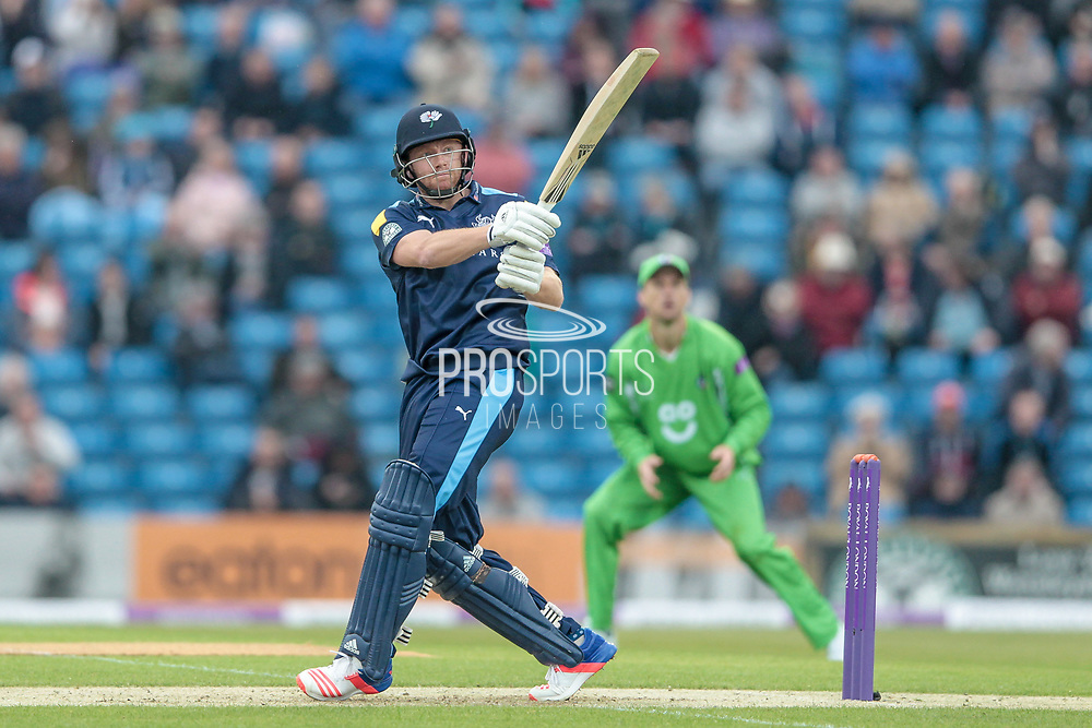 First six of the day is hit by Jonny Bairstow (Yorkshire Vikings) who follows that up with the second in exactly the same place during the Royal London 1 Day Cup match between Yorkshire County Cricket Club and Lancashire County Cricket Club at Headingley Stadium, Headingley, United Kingdom on 1 May 2017. Photo by Mark P Doherty.