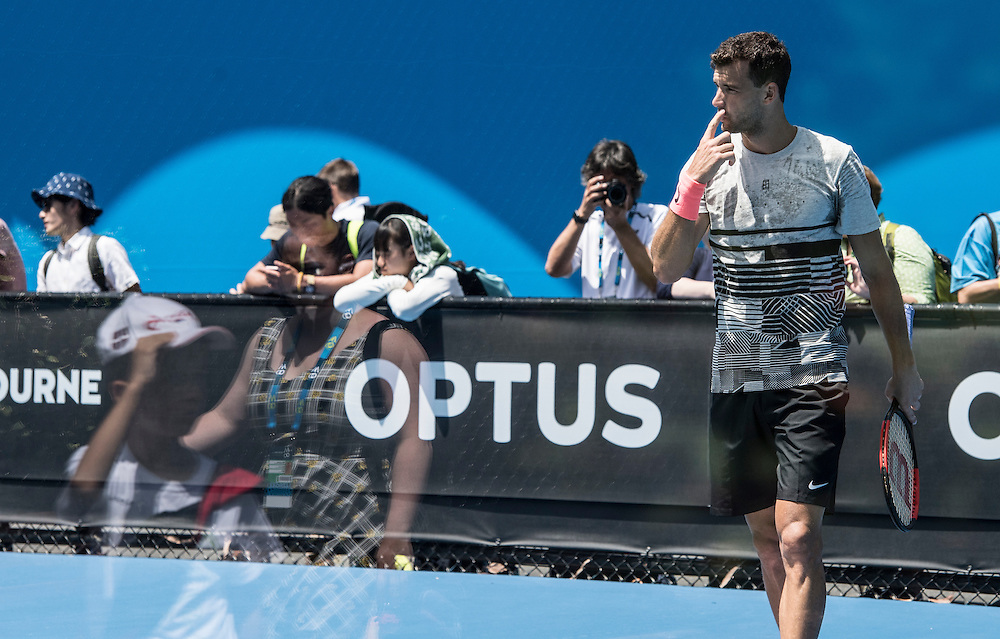Grigor Dimitrov of Bulgaria during a practice session ahead of the 2017 Australian Open at Melbourne Park on January 11, 2017 in Melbourne, Australia.<br /> (Ben Solomon/Tennis Australia)